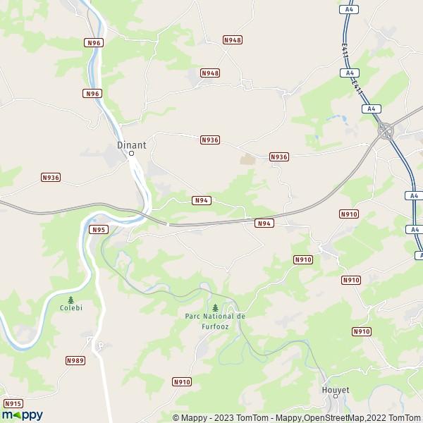 Carte Belgique Dinant Environs.Plan Dinant Carte De Dinant 5500 Et Infos Pratiques