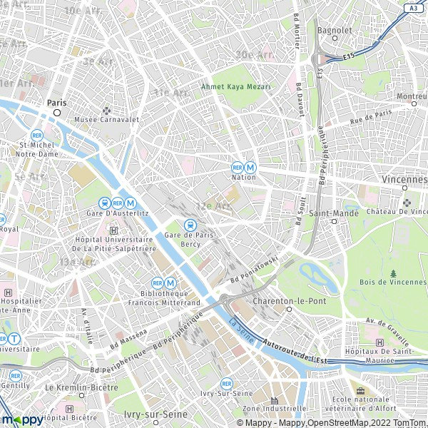 plan de 12e Arrondissement Paris, carte de 12e Arrondissement Paris