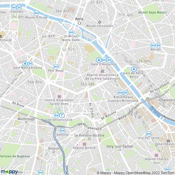 plan de 13e Arrondissement Paris, carte de 13e Arrondissement Paris